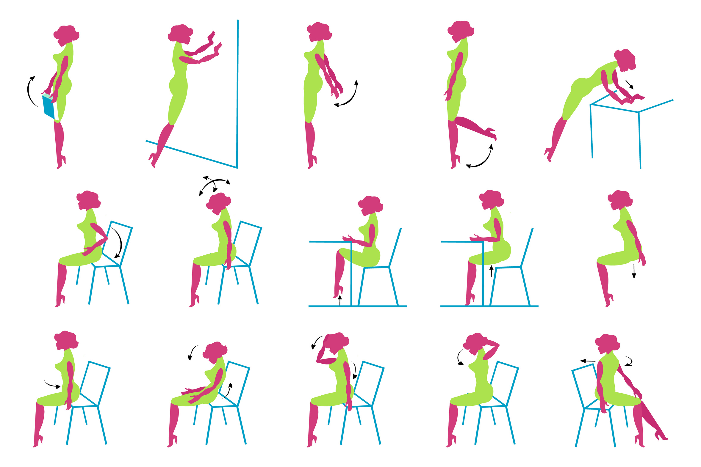 Vector Icons of Glamour lady doing exercise in office