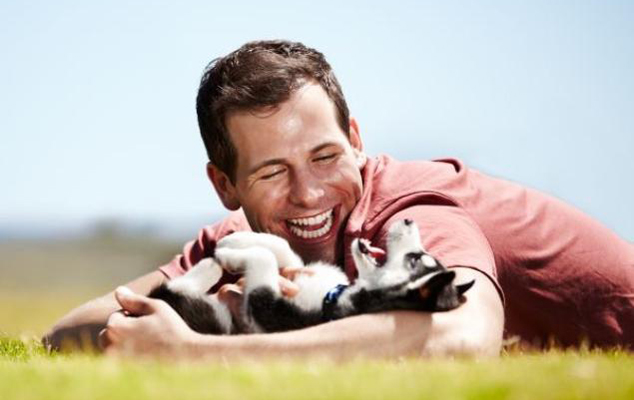 shutterstock-man-dog-playing