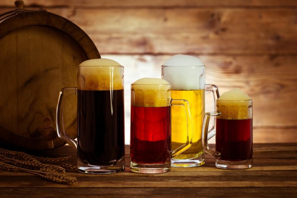 Variety of beer in the mug