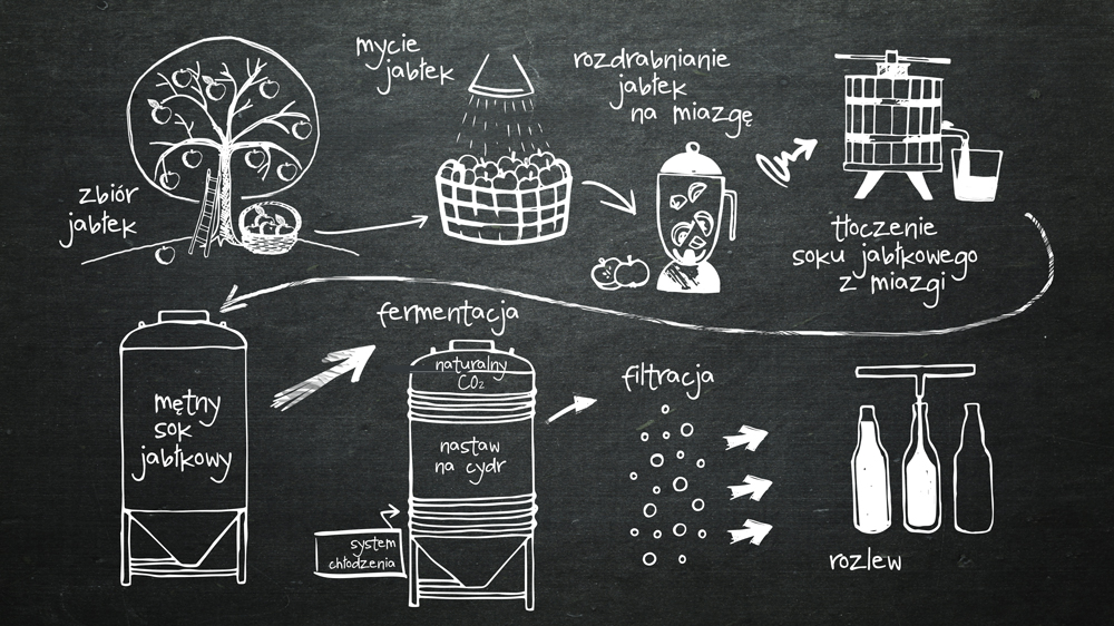 Cydr Schemat produkcji naturalnego cydru