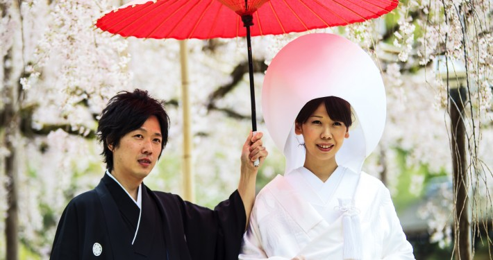 Celebration of a typical wedding in Japan