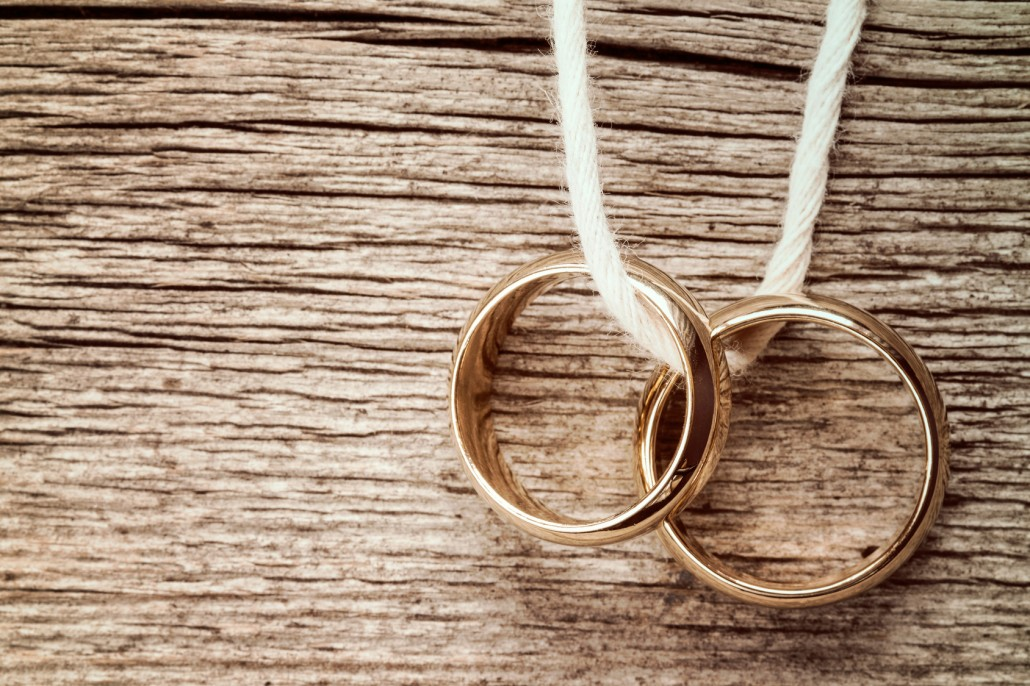 Two rings hanging on rope
