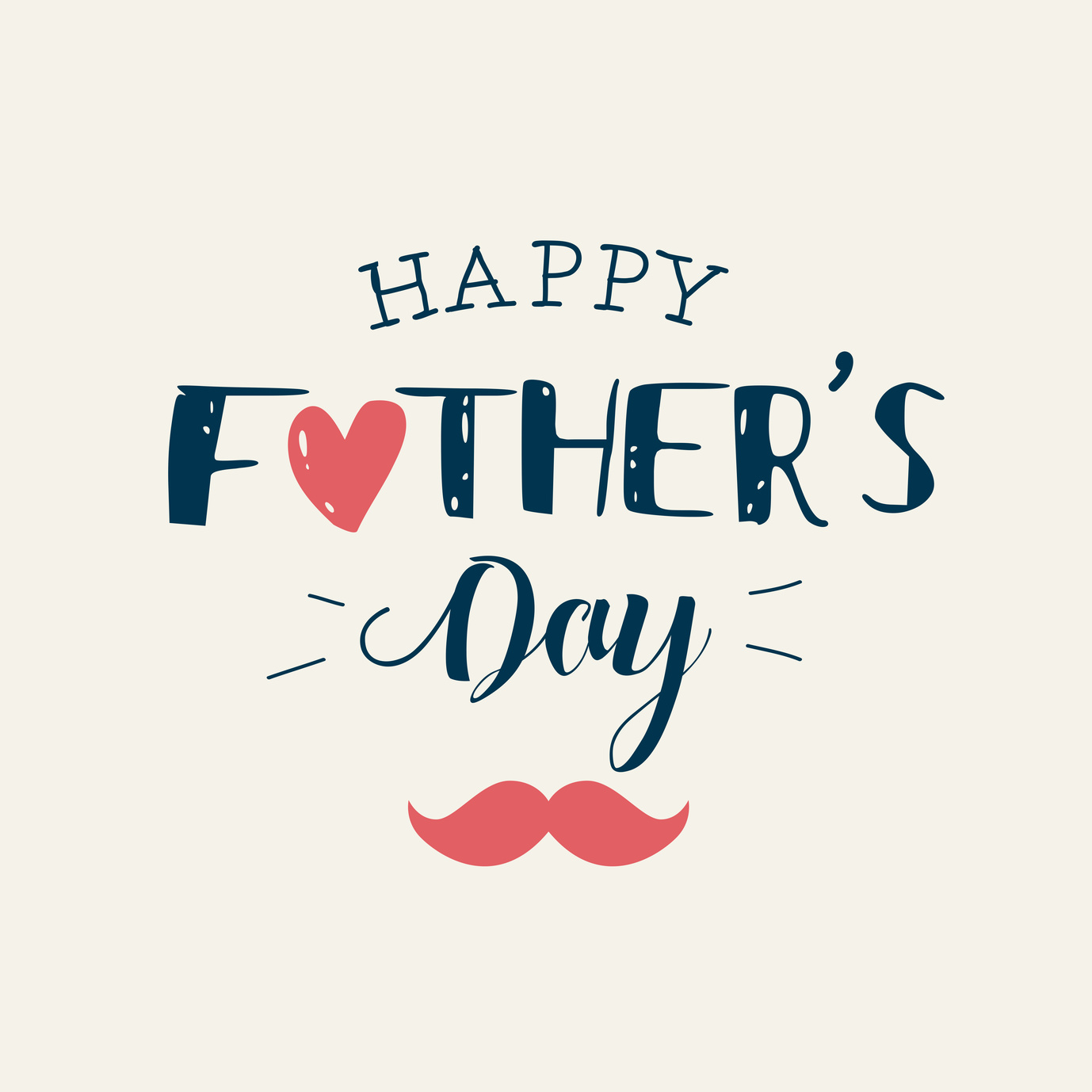 Happy fathers day card with icons heart and mustache. Editable vector design.