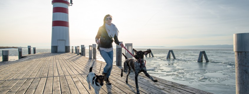 Active lifestyle woman running with two dog outdoor