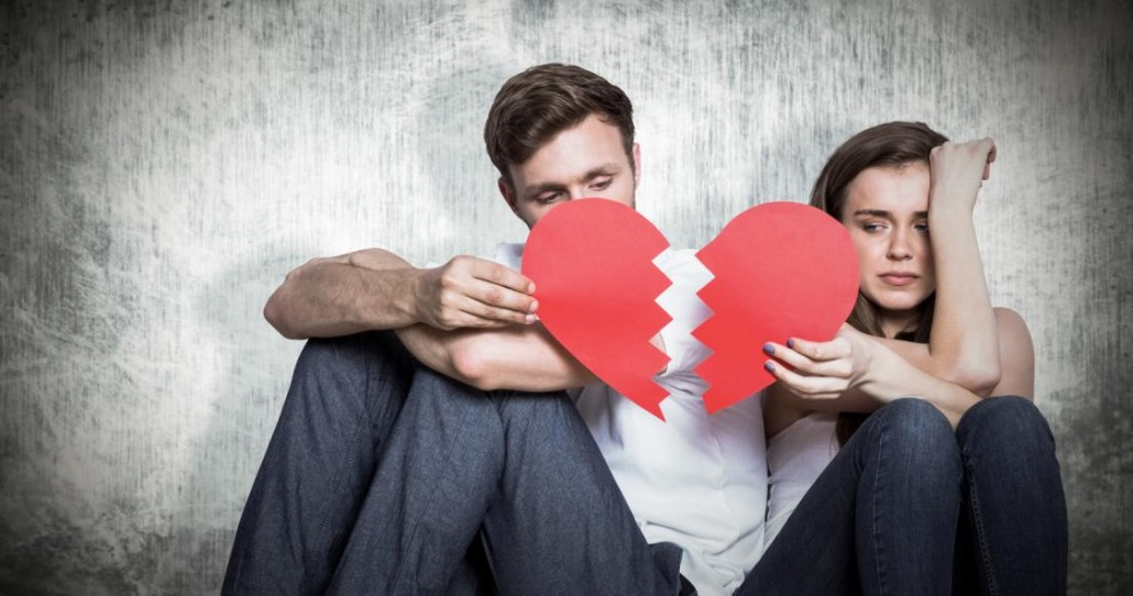 composite-image-of-young-couple-holding-broken-heart