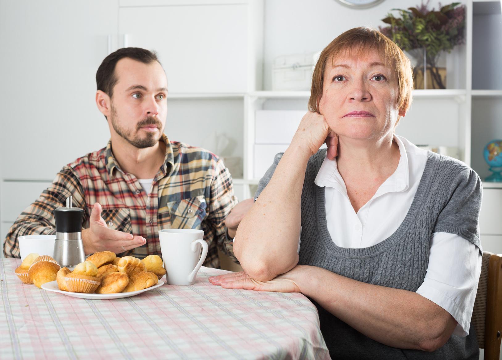 Elderly mother resents her son