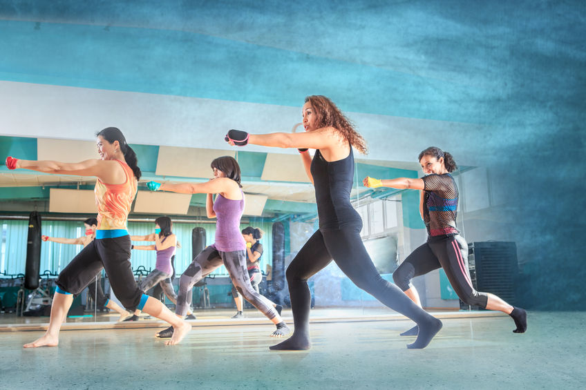 46173557 - a group of women in sport dress at piloxing exercise