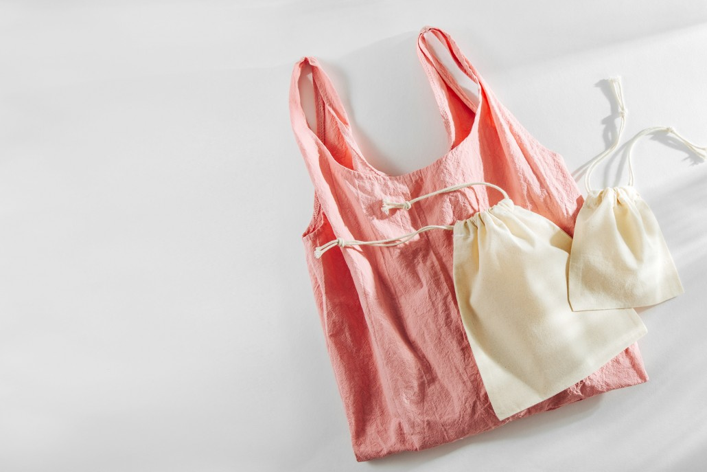 Fashion Pink shopping bag and cloth bags. Zero waste, plastic free concept.