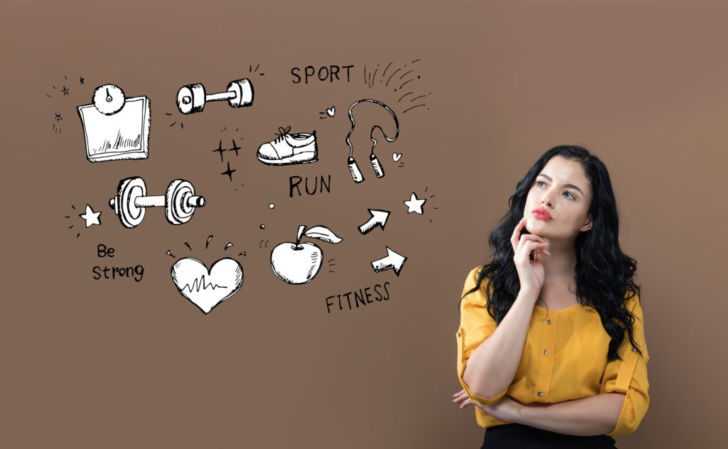 Fitness and diet with young businesswoman