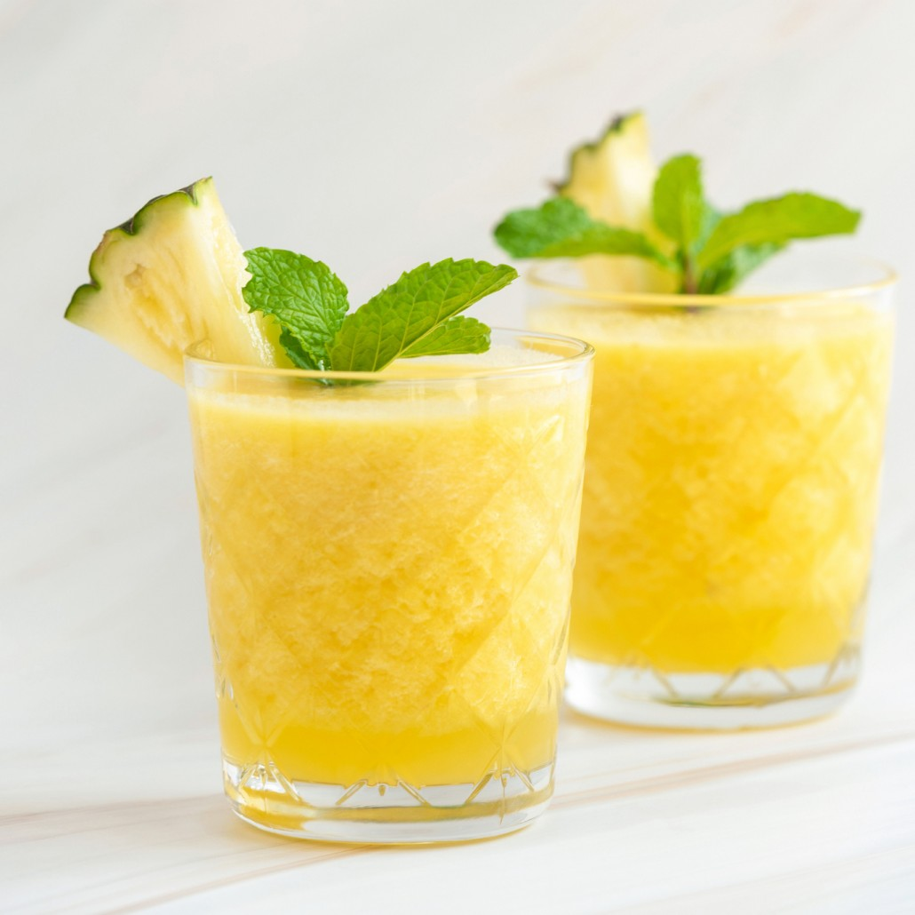 Refreshing healthy pineapple fruit smoothie drinks