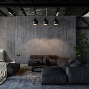 Living room with sofas in loft style flat