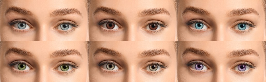 Collage of woman with different contact lenses
