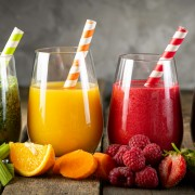 Selection of colorful smoothies in glasses