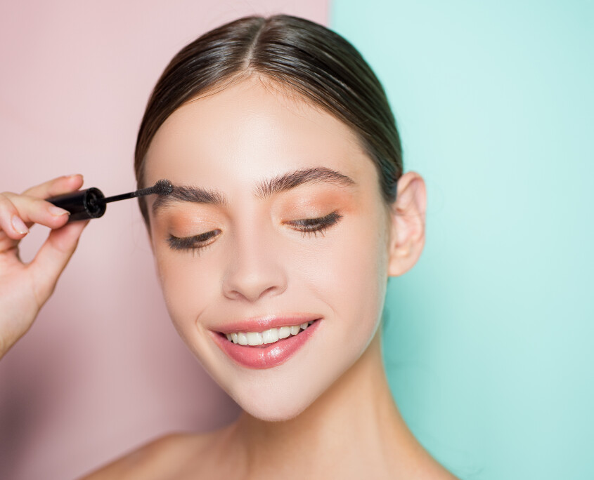 Beautiful thick eyebrows, a vivid glance. Perfect eyebrows, make-up correction.