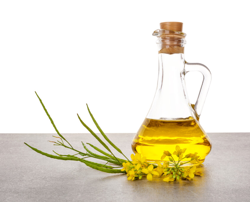 Rapeseed oil in jar with flowers.